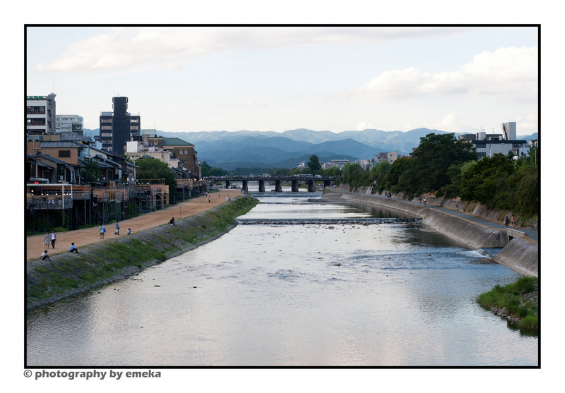 Looking northward down the Kamo River, Kimono.