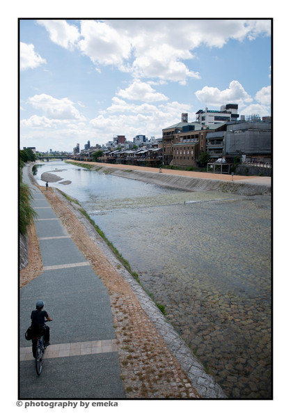 A look down the drying Kamo River that runs through Kyoto City