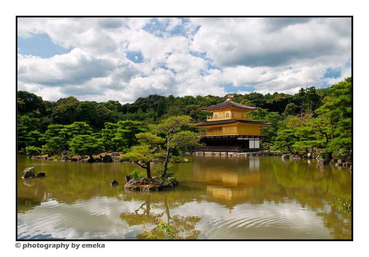 the Pavilion has been covered in 50Kg of gold leaf, and blends imperial and samurai styles.