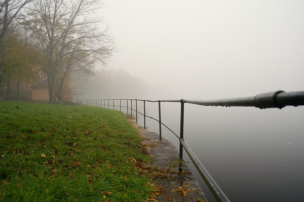Merrimack River in fog, Lowell, MA