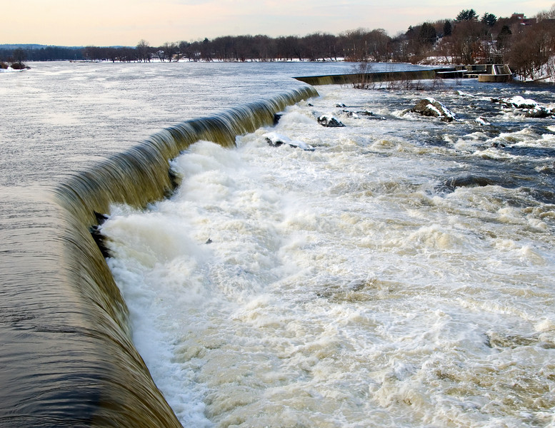 Late Winter runoff on the Merrimack River, Lowell, MA