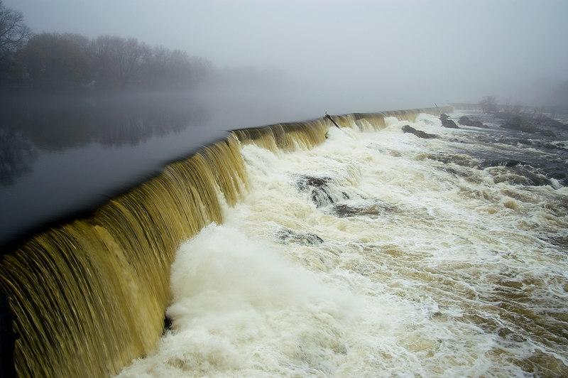 Pawtucket Falls of the Merrimack River under full steam, Lowell, MA