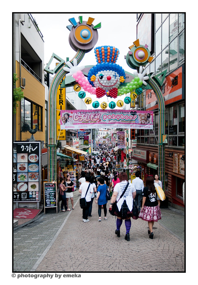 entering Harajuku - a strange feast for the eyes.