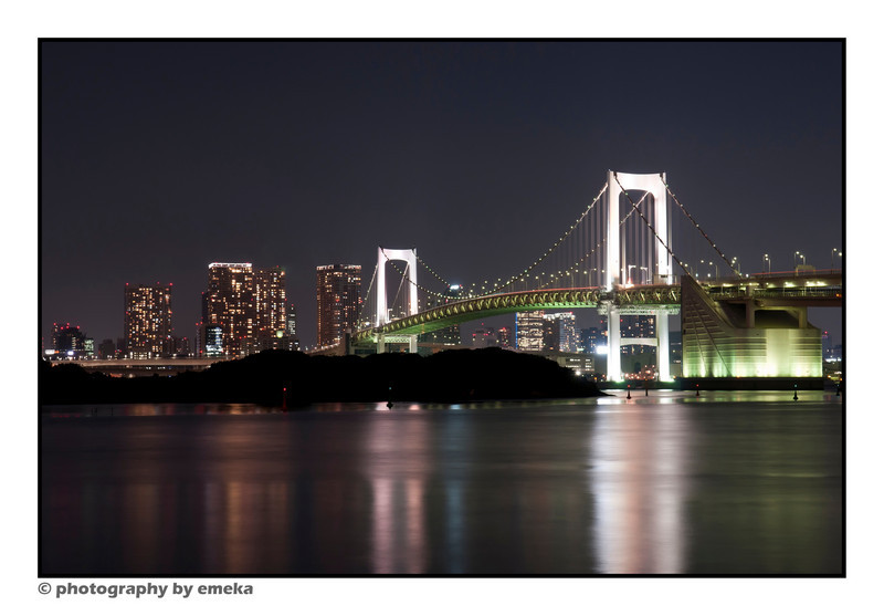 a look at the Rainbow Bridge at night.