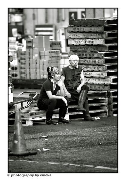 Workers outside the Tsukiji Fish Market, Tokyo