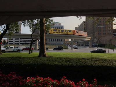 Detroit People Mover commuter near Grand Circus Park station stop
