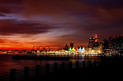 Vancouver City Skyline with Olympic rings in forground