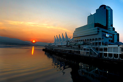 Canada Place and Convention Centre at sunrise