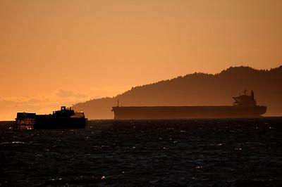 Evening light on the big ships