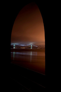 Lions Gate Bridge Framed by Window