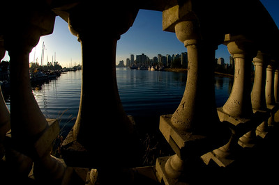 Coal Harbour and Vancouver City Skyline thru the framing of a wall