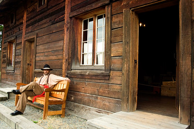 Man sitting in Fort in Fort Langley