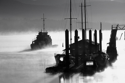 Leaving in B&W mistly morning on the Fraser River, B.C., Canada