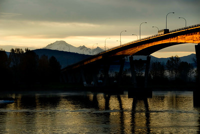 the Mission Bridge with Mount Baker in the back