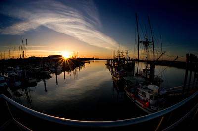 the sun is rising over Steveston Harbour, Richmond