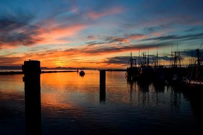 Steveston Harbour with setting sun