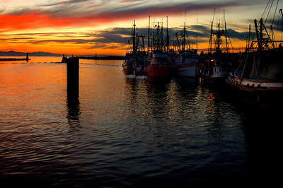 setting sun plays its magic by the water at Steveston, Richmond, B.C.