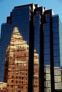 high rise reflection- the old and the new