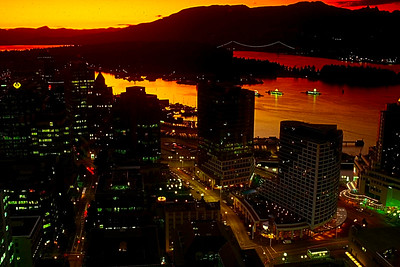 high view of Vancouvers north side, with Stanley Park, the Lions gate Bridge and the North Shore Mountains