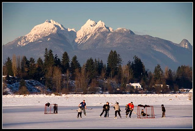 Field Hockey in Fort Langley. this happens only every 10 years or so. Corner of Glover Road and 232nd street inmFort Langley with Golden Ears Mountain as the backdrop