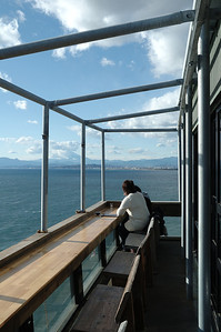 Veranda of one restaurant on the island's southwest side. The strong winds of winter will cause the metal frame to hum with a pleasant tone.