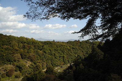 View of the Hozugawa with Mt Hiei in the left background. Vantage point on the grounds of Senkoji 千光寺.