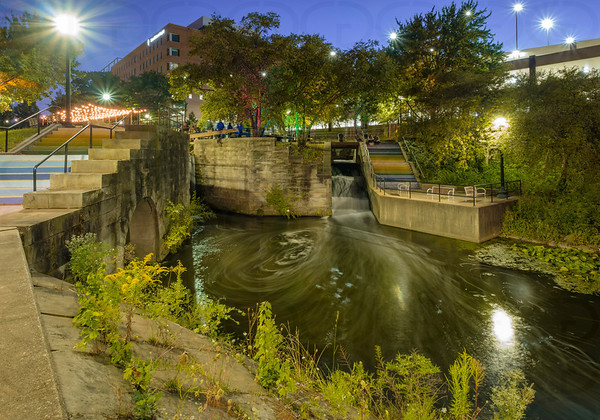 Waters of Lock 2 at Night
