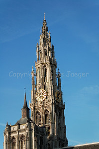 The Cathedral of Our Lady in Antwerp (Antwerpen), Belgium is the largest Gothic church in the Low Countries. It measures 123 meter.