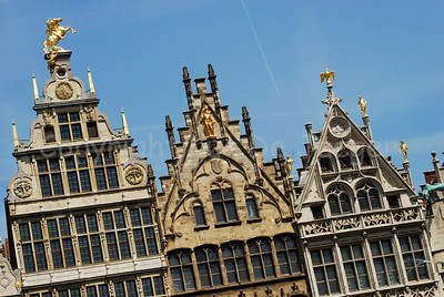 medieval buildings along the grote Markt (Market square) in Antwerp (Antwerpen), Belgium.