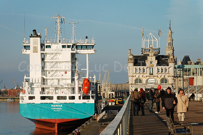 A ship anchored along the quay (Scheldekaai) in Antwerp (Antwerpen), Belgium.