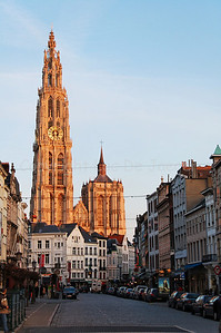 The Cathedral of Our Lady in Antwerp (Antwerpen), Belgium is the largest Gothic church in the Low Countries. It measures 123 meter. Photographed in the afternoon.