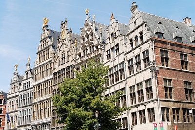 Medieval buildings along the Grote Markt (Market square) in Antwerp (Antwerpen), Belgium.