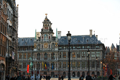 The Market square and the Town Hall of Antwerp (Antwerpen), Belgium.