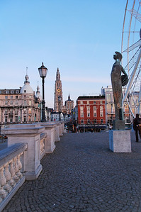 The bridge and statue aside from the Ferris Wheel in Antwerp (Antwerpen), Belgium.