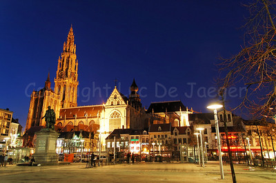 The Groenplaats with a view on the Cathedral of Our Lady in Antwerp (Antwerpen), Belgium, captured at night.