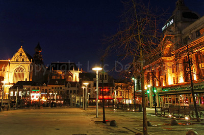 The Groenplaats in Antwerp (Antwerpen), Belgium, captured at night.