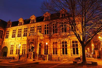 The Hendrik Conscienceplein (Hendrik Conscience square) in Antwerp (Antwerpen), Belgium, captured at dusk.