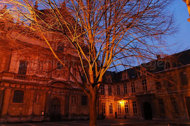 The Carolus Borromeuskerk (Church of Carolus Borromeus) on the Hendrik Conscienceplein (Hendrik Conscience square) in Antwerp (Antwerpen), Belgium, captured at dusk.