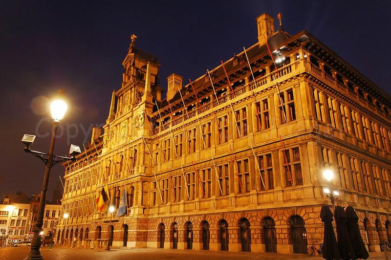 The Town Hall of Antwerp (Antwerpen), Belgium captured at dusk.