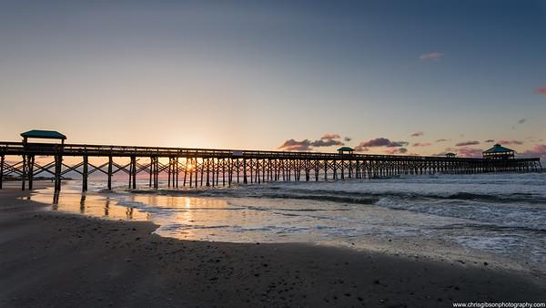 Folly Beach Pier At Sunrise, Charleston, SC