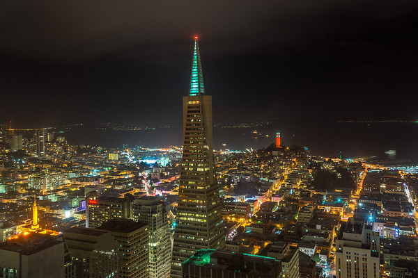 The Transamerica Pyramid at night