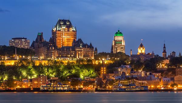 Quebec City, Canada, at dusk