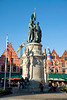"Bruges, Belgium - Market Square, Monument to Jan Breydel and Pieter de Coninck, the two leaders of the ""Battle of the Golden Spurs"" in 1302"