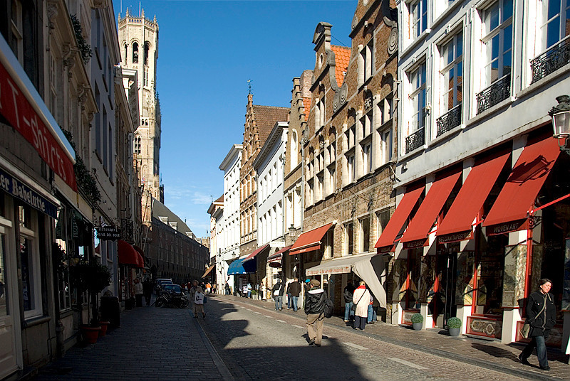 Bruges, Belgium - shopping area near Market Square