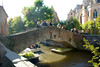 Bruges, Belgium - Bonifacius bruggetje behind OLV Onthaalkerk (Church of Our Lady)