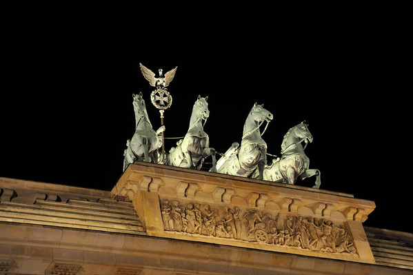 The Quadriga atop the Brandenburg Gate, Berlin.