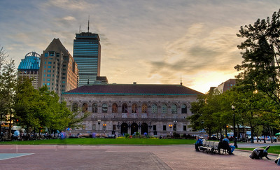 Boston Public Library at dusk in Back Bay in Copley Square.