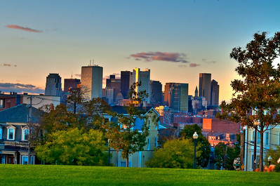 Beautiful sunset and view of Boston's FInancial District from Thomson Park in South Boston, MA.