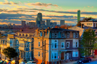 Boston Skyline from Thomson Park in Southie.  Sunset and incredible light.