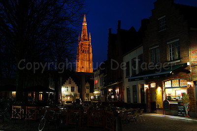 Image of the Church of our Lady (Onze-Lieve-Vrouwekerk) captured from the Walplein, near the Wijngaardplein. Shot at dusk.